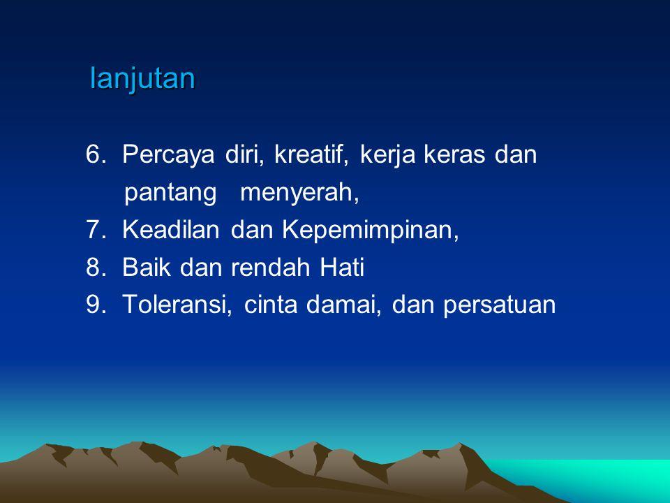 Pendidikan Karakter 9 Pilar Karakter Dasar (Indonesia) Pendidikan Karakter 9 Pilar Karakter Dasar (Indonesia) 1.Cinta kepada Allah dan semesta beserta