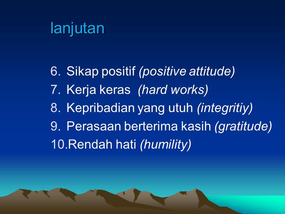 Penanaman 10 Karakter lewat Sekolah (Lickona, 2004) 1.Kebijaksanaan/Bijaksana (wisdom) 2.Keadilan/Adil (justice) 3.Daya tahan (fortitude) 4.Kontrol diri (self control) 5.Cinta (love)