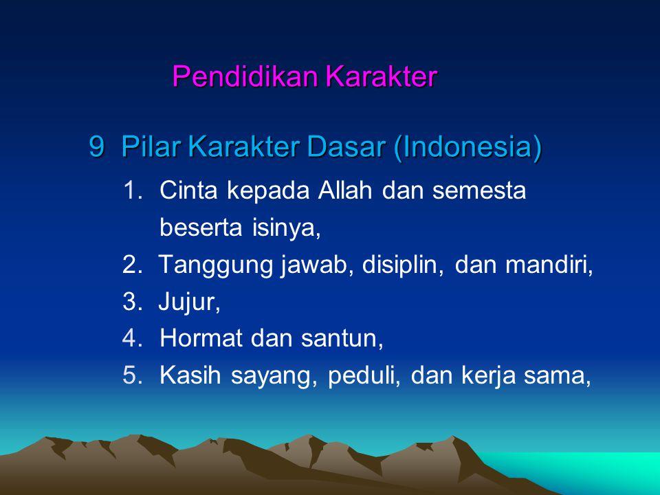 Pendidikan Karakter 9 Pilar Karakter Dasar (Indonesia) Pendidikan Karakter 9 Pilar Karakter Dasar (Indonesia) 1.Cinta kepada Allah dan semesta beserta isinya, 2.