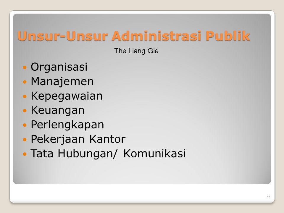 Unsur-Unsur Administrasi Publik Organisasi Manajemen Kepegawaian Keuangan Perlengkapan Pekerjaan Kantor Tata Hubungan/ Komunikasi 11 The Liang Gie