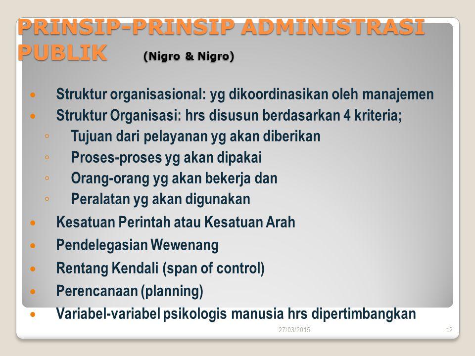 PRINSIP-PRINSIP ADMINISTRASI PUBLIK (Nigro & Nigro) Struktur organisasional: yg dikoordinasikan oleh manajemen Struktur Organisasi: hrs disusun berdas