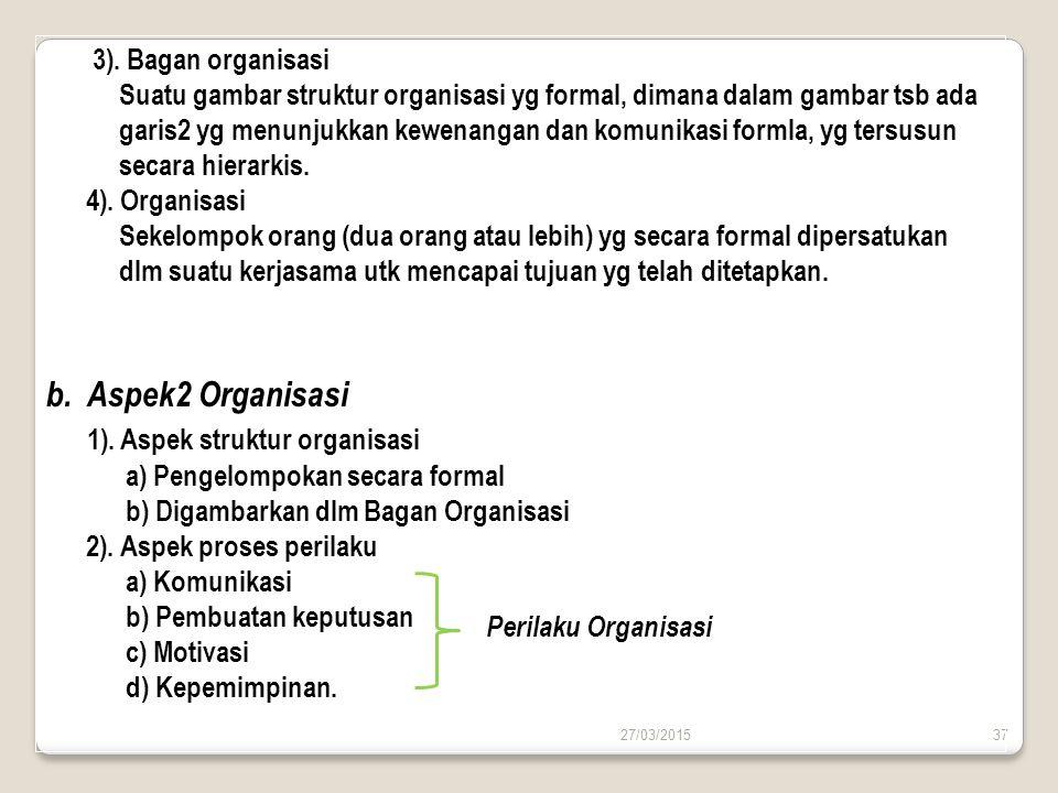 27/03/201537 3). Bagan organisasi Suatu gambar struktur organisasi yg formal, dimana dalam gambar tsb ada garis2 yg menunjukkan kewenangan dan komunik