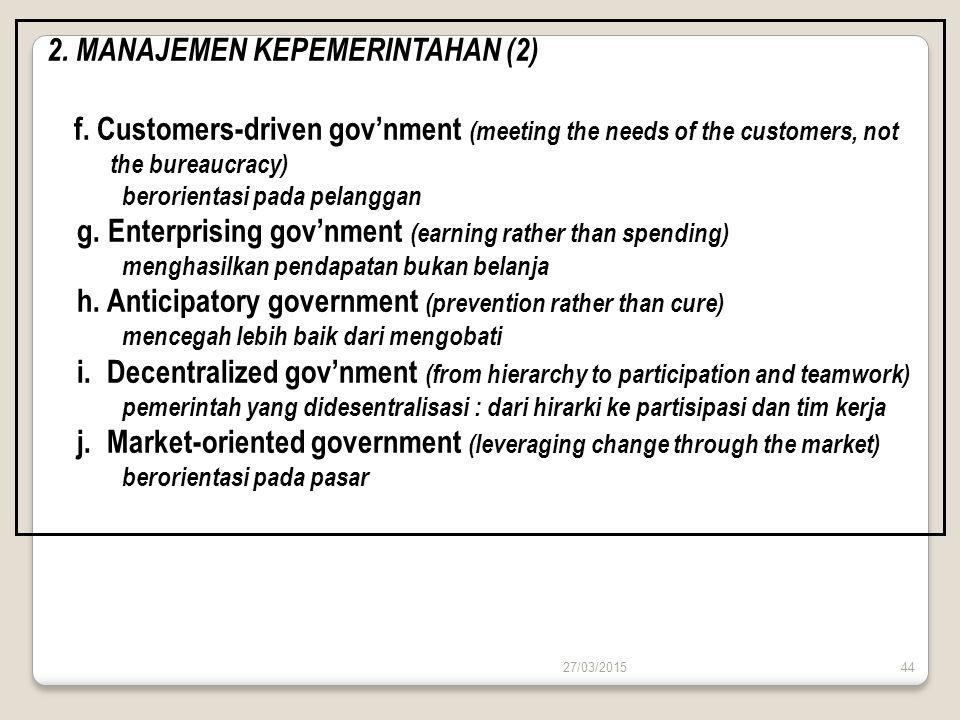 27/03/201544 2. MANAJEMEN KEPEMERINTAHAN (2) f. Customers-driven gov'nment (meeting the needs of the customers, not the bureaucracy) berorientasi pada