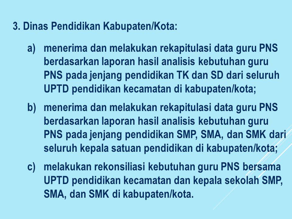 3. Dinas Pendidikan Kabupaten/Kota: a)menerima dan melakukan rekapitulasi data guru PNS berdasarkan laporan hasil analisis kebutuhan guru PNS pada jen