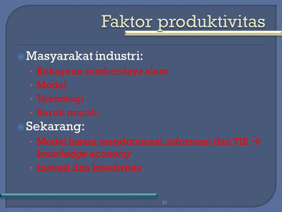  Masyarakat industri: Kekayaan sumberdaya alam Modal Teknologi Buruh murah  Sekarang: Modal insani mendominasi, informasi dan TIK  knowledge economy Inovasi dan kreativitas 31