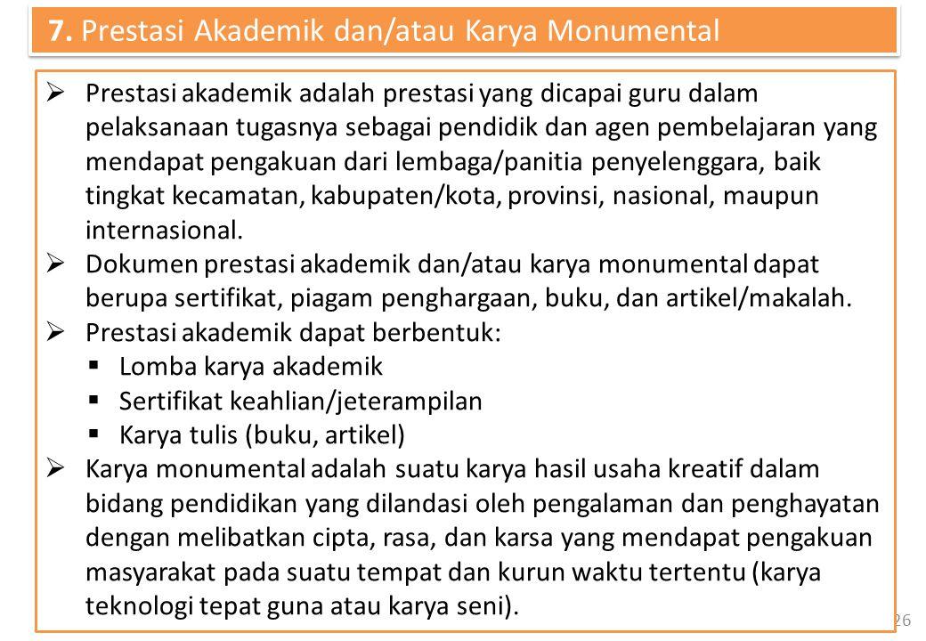 26  Prestasi akademik adalah prestasi yang dicapai guru dalam pelaksanaan tugasnya sebagai pendidik dan agen pembelajaran yang mendapat pengakuan dari lembaga/panitia penyelenggara, baik tingkat kecamatan, kabupaten/kota, provinsi, nasional, maupun internasional.