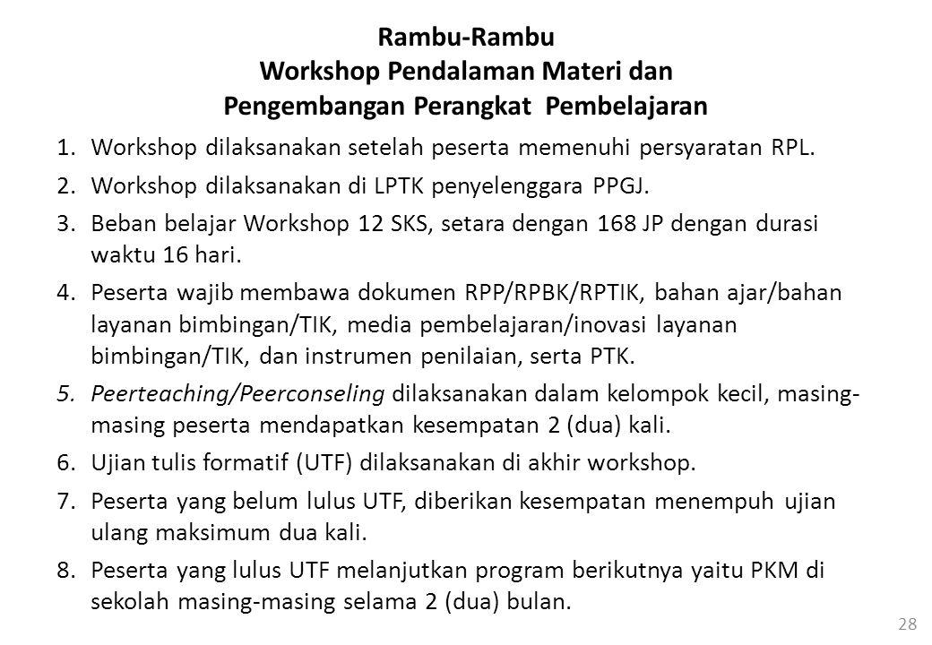 28 Rambu-Rambu Workshop Pendalaman Materi dan Pengembangan Perangkat Pembelajaran 1.Workshop dilaksanakan setelah peserta memenuhi persyaratan RPL.