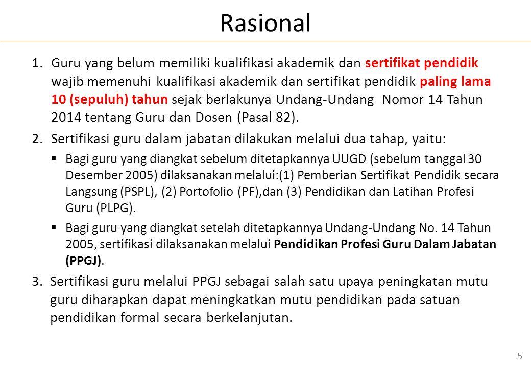Rasional 1.Guru yang belum memiliki kualifikasi akademik dan sertifikat pendidik wajib memenuhi kualifikasi akademik dan sertifikat pendidik paling lama 10 (sepuluh) tahun sejak berlakunya Undang-Undang Nomor 14 Tahun 2014 tentang Guru dan Dosen (Pasal 82).