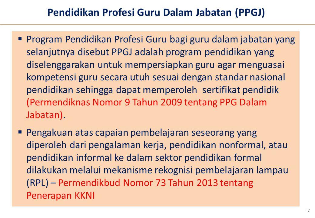 7  Program Pendidikan Profesi Guru bagi guru dalam jabatan yang selanjutnya disebut PPGJ adalah program pendidikan yang diselenggarakan untuk mempersiapkan guru agar menguasai kompetensi guru secara utuh sesuai dengan standar nasional pendidikan sehingga dapat memperoleh sertifikat pendidik (Permendiknas Nomor 9 Tahun 2009 tentang PPG Dalam Jabatan).