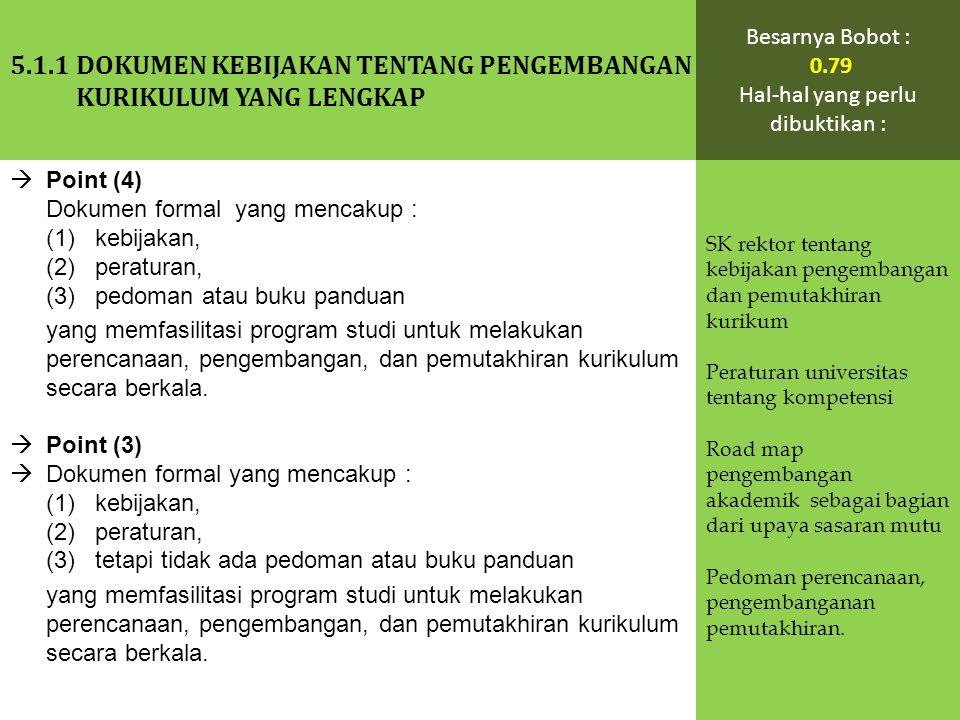  Point (4) Dokumen formal yang mencakup : (1) kebijakan, (2) peraturan, (3) pedoman atau buku panduan yang memfasilitasi program studi untuk melakuka