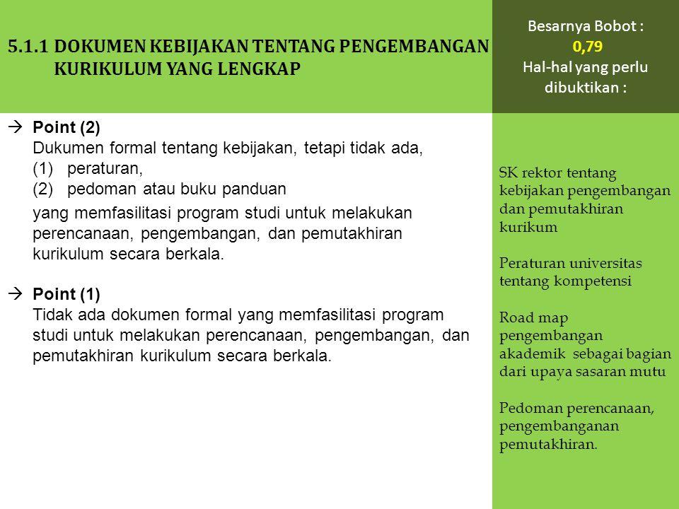  Point (2) Dukumen formal tentang kebijakan, tetapi tidak ada, (1) peraturan, (2) pedoman atau buku panduan yang memfasilitasi program studi untuk me