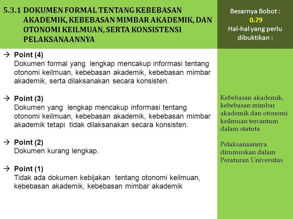  Point (4) Dokumen formal yang lengkap mencakup informasi tentang otonomi keilmuan, kebebasan akademik, kebebasan mimbar akademik, serta dilaksanakan