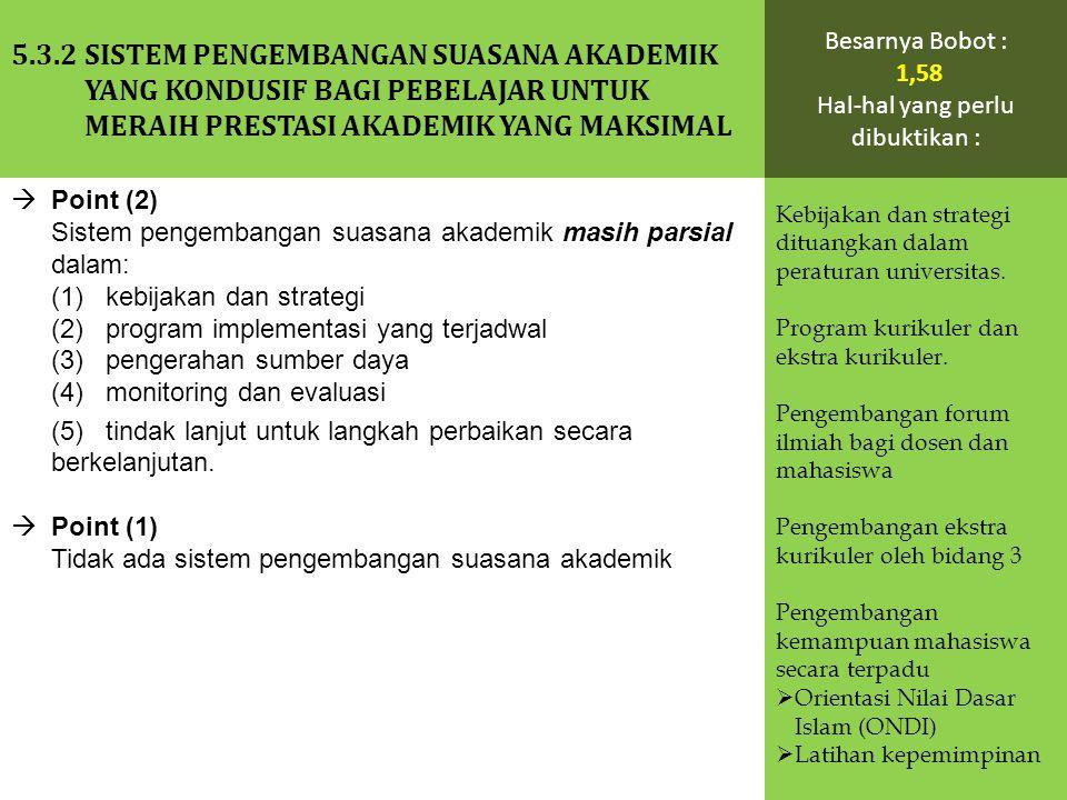  Point (2) Sistem pengembangan suasana akademik masih parsial dalam: (1) kebijakan dan strategi (2) program implementasi yang terjadwal (3) pengeraha
