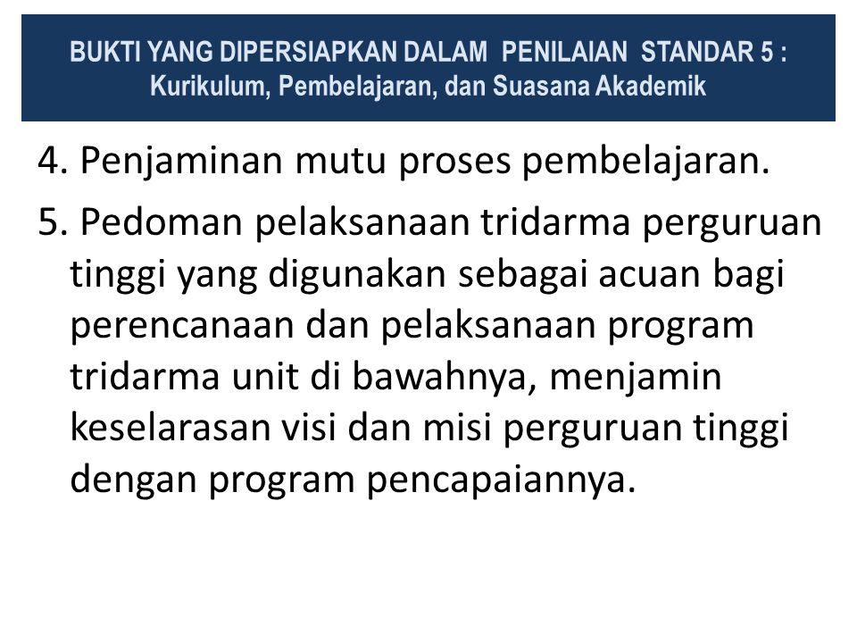 4. Penjaminan mutu proses pembelajaran. 5. Pedoman pelaksanaan tridarma perguruan tinggi yang digunakan sebagai acuan bagi perencanaan dan pelaksanaan