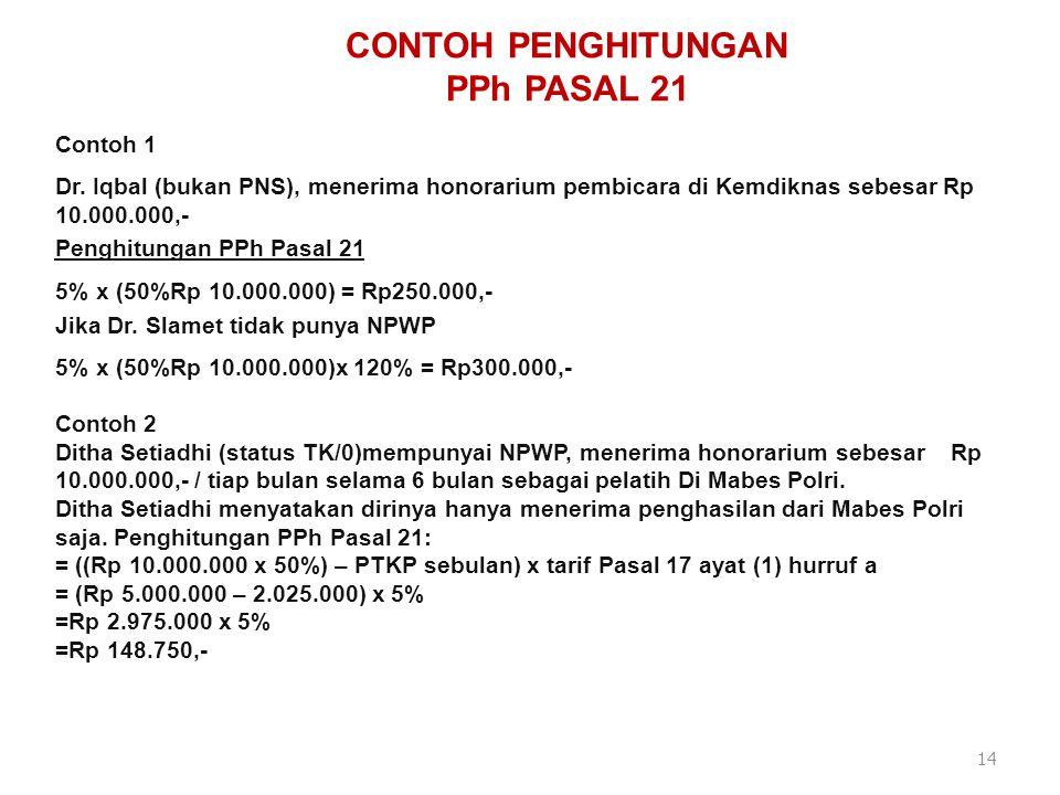 CONTOH PENGHITUNGAN PPh PASAL 21 Contoh 3 Willy SH, LLM (memiliki NPWP-bukan PNS) menerima uang rapat sebagai peserta rapat di Mabes Polri sebesar Rp1.000.000,- Penghitungan PPh Pasal 21 : 5% x Rp1.000.000 = Rp50.000,- 5% x (Rp5.000.000) = Rp250.000 Jika Willy tidak memiliki NPWP, maka atas uang rapat yang diterima dipotong PPh Pasal 21 sebesar : 5% x 120% x Rp1.000.000 =Rp60.000