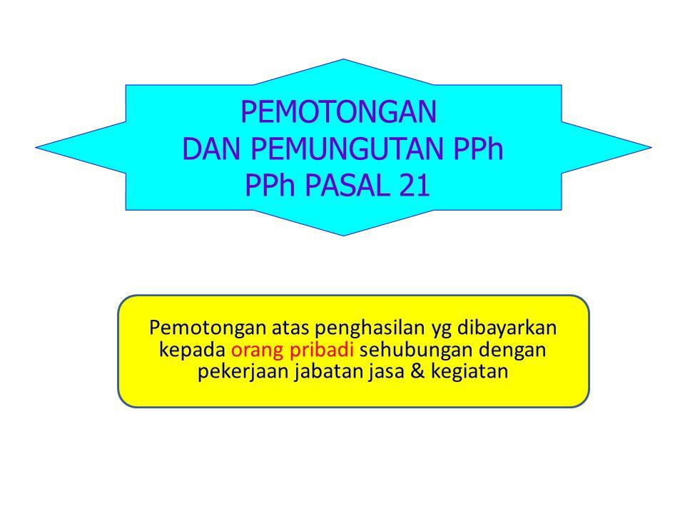PEMOTONGAN DAN PEMUNGUTAN PPh PPh PASAL 21 Pemotongan atas penghasilan yg dibayarkan kepada orang pribadi sehubungan dengan pekerjaan jabatan jasa & k
