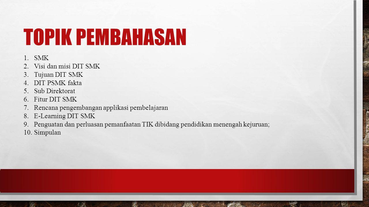 TOPIK PEMBAHASAN 1.SMK 2.Visi dan misi DIT SMK 3.Tujuan DIT SMK 4.DIT PSMK fakta 5.Sub Direktorat 6.Fitur DIT SMK 7.Rencana pengembangan applikasi pem