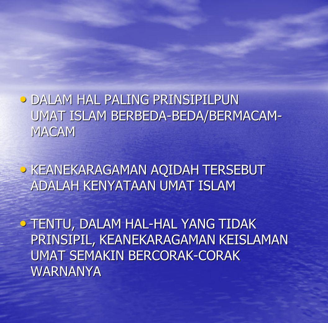 DALAM HAL PALING PRINSIPILPUN UMAT ISLAM BERBEDA-BEDA/BERMACAM- MACAM DALAM HAL PALING PRINSIPILPUN UMAT ISLAM BERBEDA-BEDA/BERMACAM- MACAM KEANEKARAG