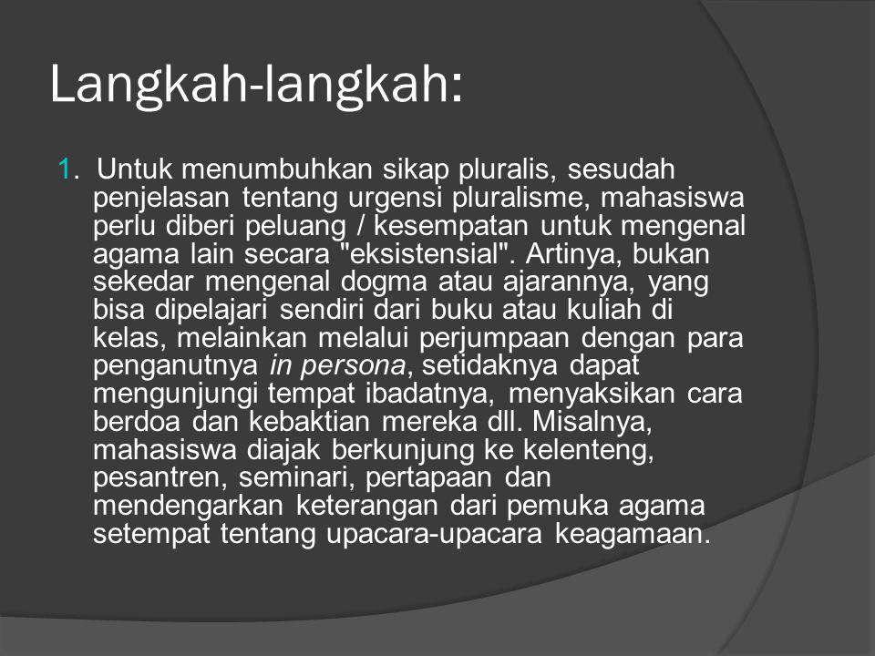 Langkah-langkah: 1. Untuk menumbuhkan sikap pluralis, sesudah penjelasan tentang urgensi pluralisme, mahasiswa perlu diberi peluang / kesempatan untuk
