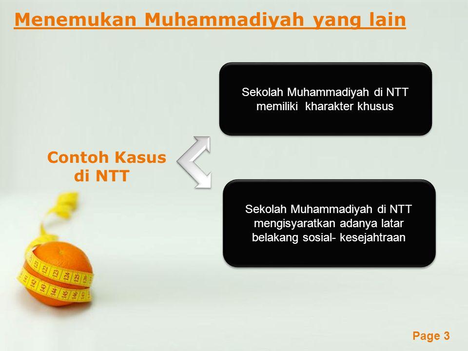 Powerpoint Templates Page 3 Menemukan Muhammadiyah yang lain Contoh Kasus di NTT Sekolah Muhammadiyah di NTT memiliki kharakter khusus Sekolah Muhammadiyah di NTT mengisyaratkan adanya latar belakang sosial- kesejahtraan
