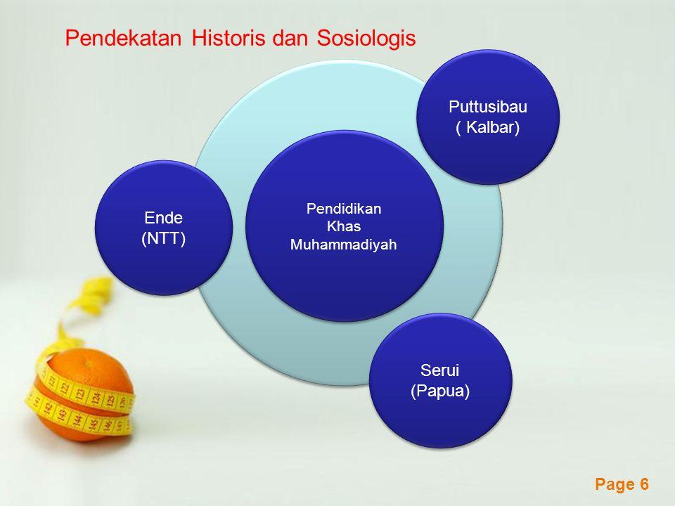 Powerpoint Templates Page 6 Puttusibau ( Kalbar) Pendidikan Khas Muhammadiyah Pendidikan Khas Muhammadiyah Serui (Papua) Ende (NTT) Pendekatan Histori