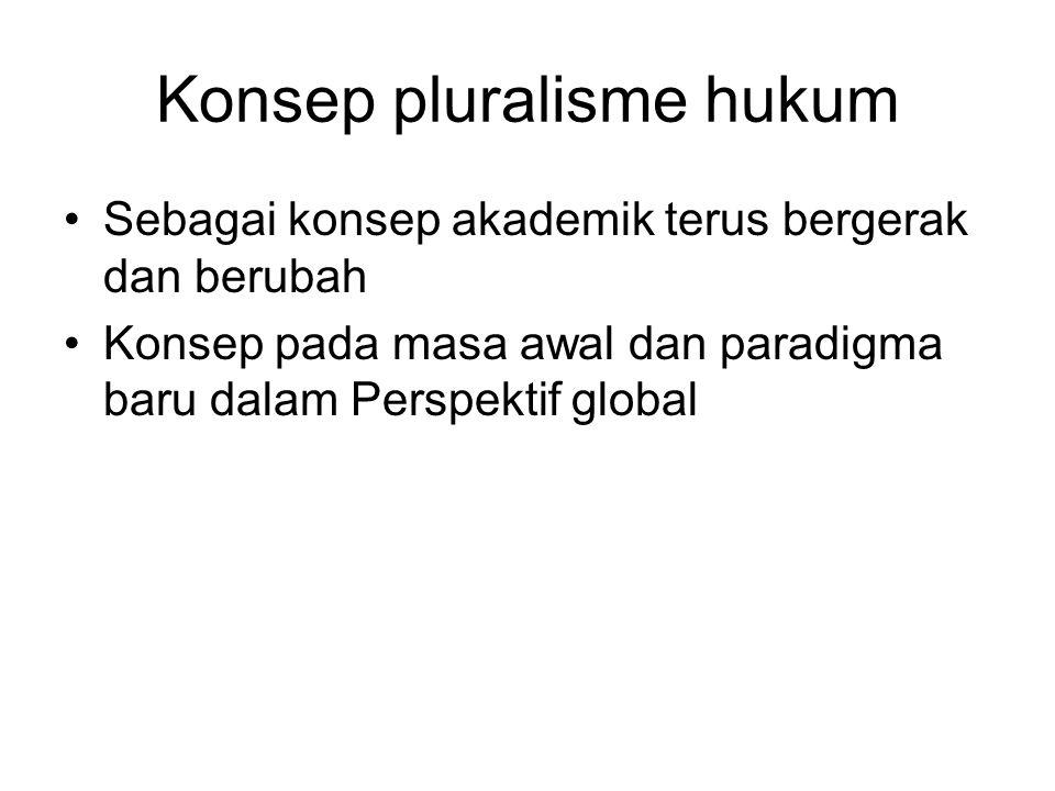Konsep pluralisme hukum Sebagai konsep akademik terus bergerak dan berubah Konsep pada masa awal dan paradigma baru dalam Perspektif global