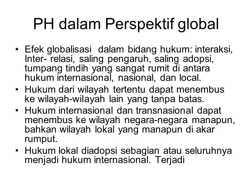 PH dalam Perspektif global Efek globalisasi dalam bidang hukum: interaksi, Inter- relasi, saling pengaruh, saling adopsi, tumpang tindih yang sangat r