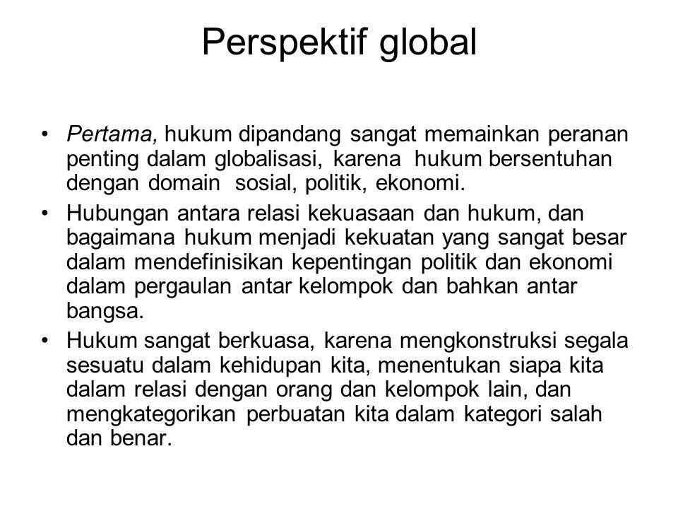 Perspektif global Pertama, hukum dipandang sangat memainkan peranan penting dalam globalisasi, karena hukum bersentuhan dengan domain sosial, politik,