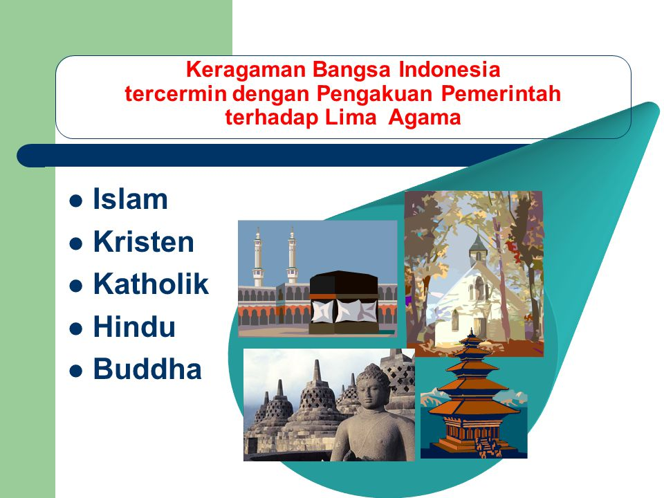 Keragaman Bangsa Indonesia tercermin dengan Pengakuan Pemerintah terhadap Lima Agama Islam Kristen Katholik Hindu Buddha