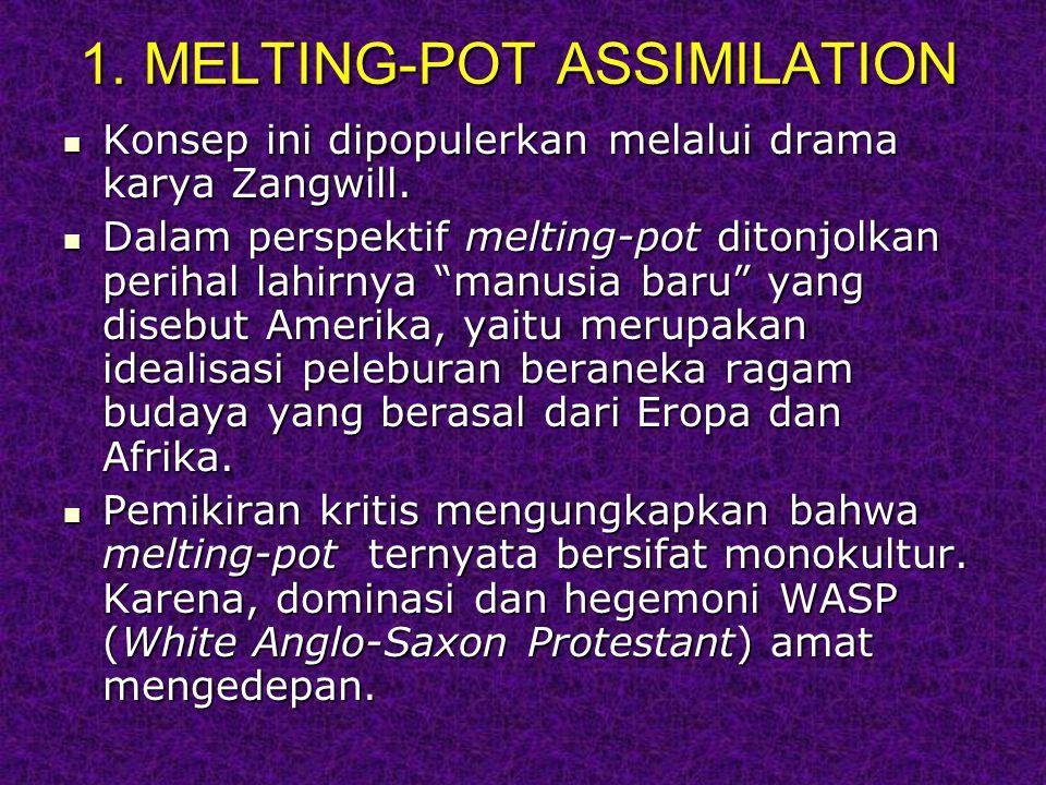 1.MELTING-POT ASSIMILATION Konsep ini dipopulerkan melalui drama karya Zangwill.