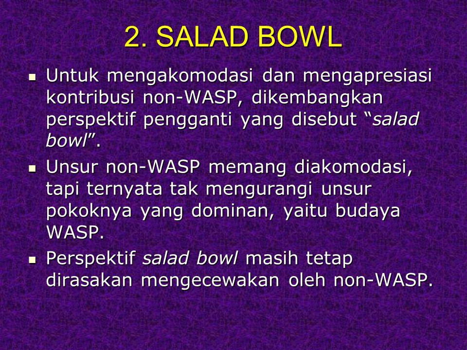 """2. SALAD BOWL Untuk mengakomodasi dan mengapresiasi kontribusi non-WASP, dikembangkan perspektif pengganti yang disebut """"salad bowl"""". Untuk mengakomod"""