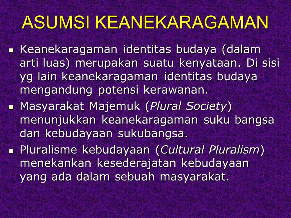 ASUMSI KEANEKARAGAMAN Keanekaragaman identitas budaya (dalam arti luas) merupakan suatu kenyataan.