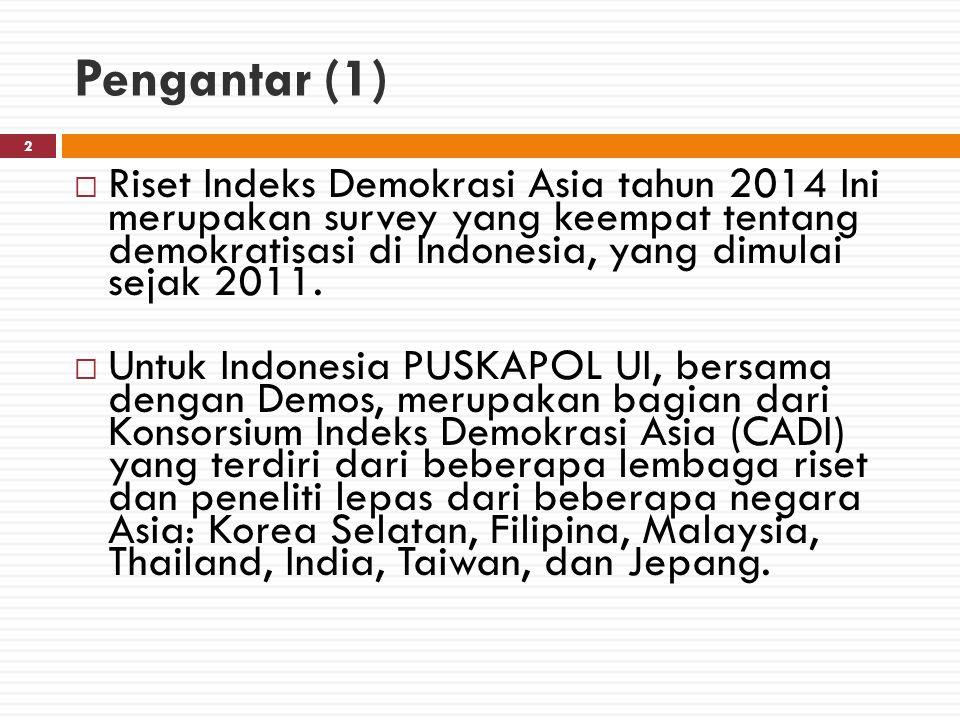 Pengantar (2) 3  Indeks Demokrasi Asia merupakan upaya menjelaskan proses demokratisasi di negara-negara paska-otoriter di Asia.