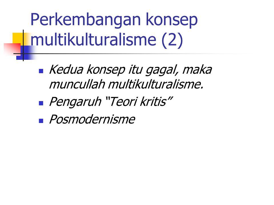 """Kedua konsep itu gagal, maka muncullah multikulturalisme. Pengaruh """"Teori kritis"""" Posmodernisme Perkembangan konsep multikulturalisme (2)"""