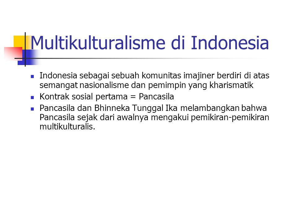Multikulturalisme di Indonesia Indonesia sebagai sebuah komunitas imajiner berdiri di atas semangat nasionalisme dan pemimpin yang kharismatik Kontrak sosial pertama = Pancasila Pancasila dan Bhinneka Tunggal Ika melambangkan bahwa Pancasila sejak dari awalnya mengakui pemikiran-pemikiran multikulturalis.