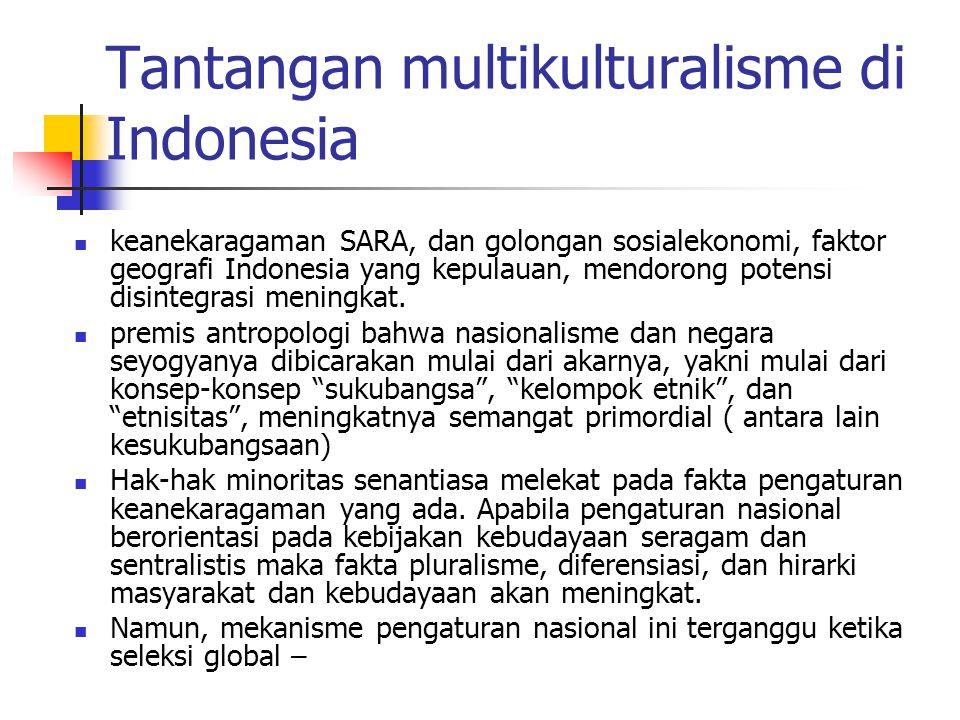 Tantangan multikulturalisme di Indonesia keanekaragaman SARA, dan golongan sosialekonomi, faktor geografi Indonesia yang kepulauan, mendorong potensi disintegrasi meningkat.