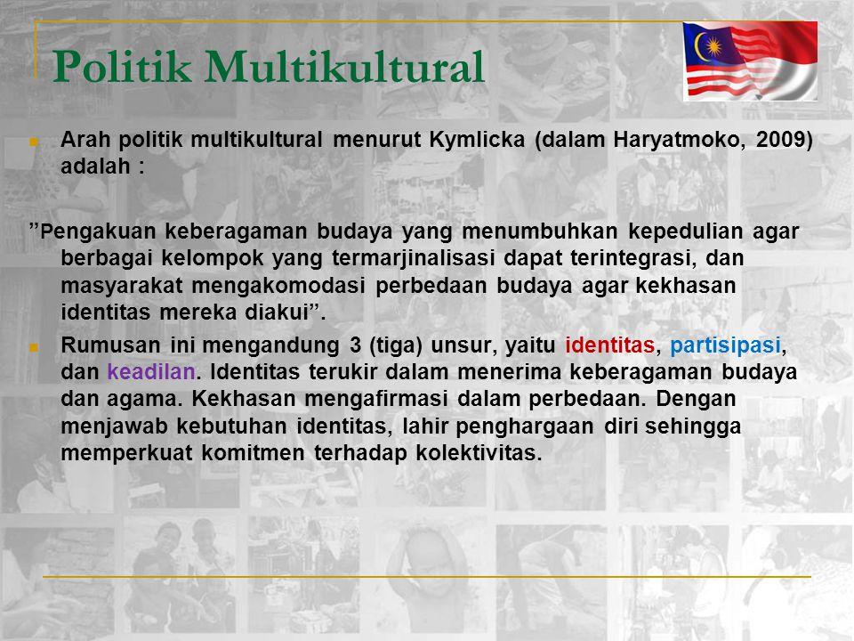 "Politik Multikultural Arah politik multikultural menurut Kymlicka (dalam Haryatmoko, 2009) adalah : "" P engakuan keberagaman budaya yang menumbuhkan k"