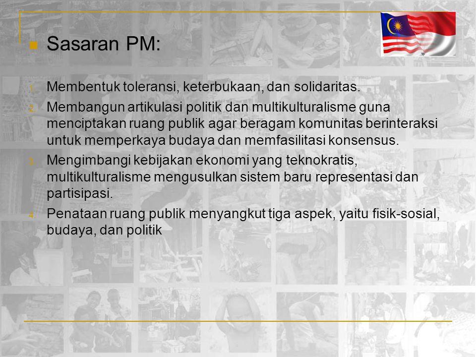 Sasaran PM: 1. Membentuk toleransi, keterbukaan, dan solidaritas. 2. Membangun artikulasi politik dan multikulturalisme guna menciptakan ruang publik