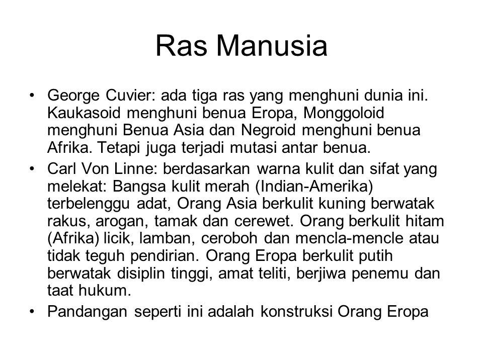 Ras Manusia George Cuvier: ada tiga ras yang menghuni dunia ini. Kaukasoid menghuni benua Eropa, Monggoloid menghuni Benua Asia dan Negroid menghuni b