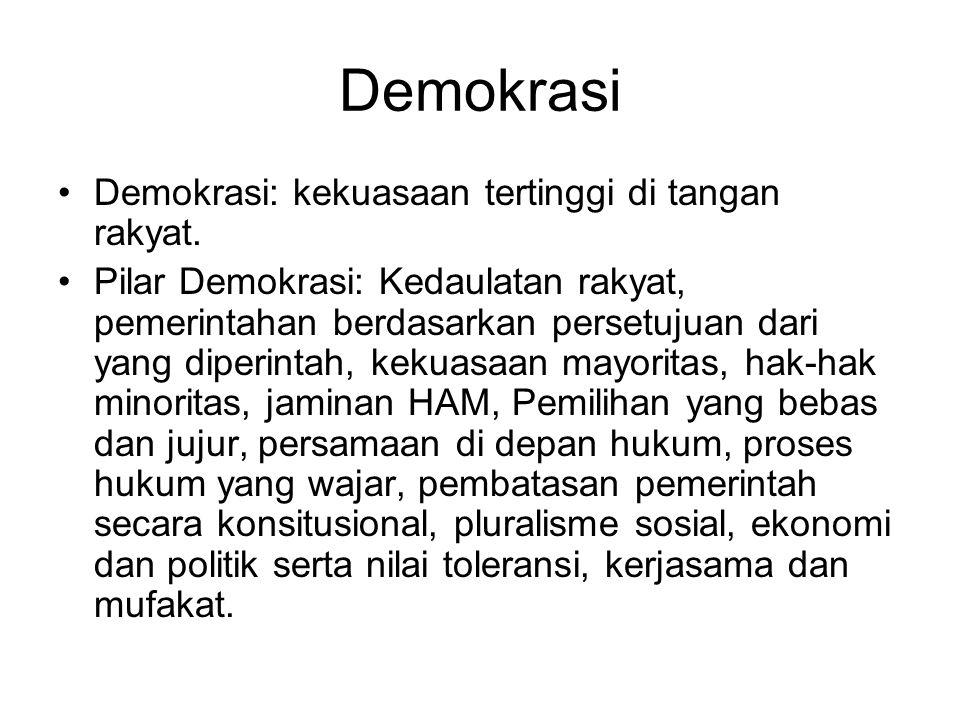 Demokrasi Demokrasi: kekuasaan tertinggi di tangan rakyat. Pilar Demokrasi: Kedaulatan rakyat, pemerintahan berdasarkan persetujuan dari yang diperint