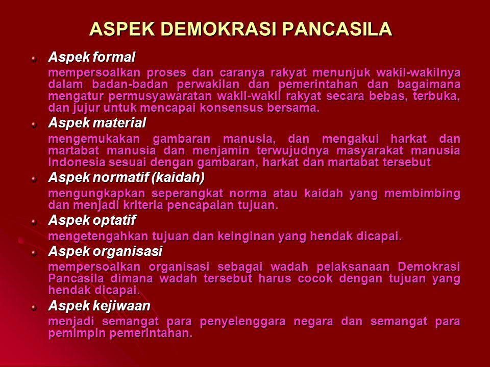 PRINSIP DEMOKRASI PANCASILA Persamaan bagi seluruh rakyat Indonesia. Keseimbangan antara hak dan kewajiban. Pelaksanaan kebebasan yang bertanggung jaw