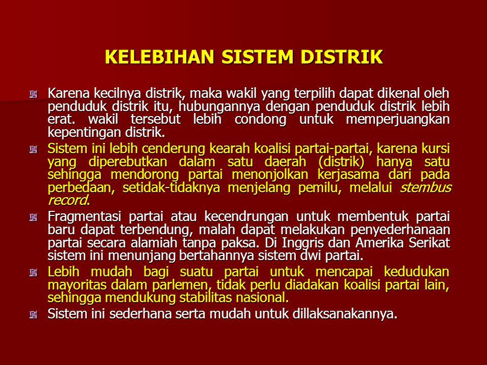SISTEM PEMILIHAN UMUM Sistem Distrik merupakan sistem pemilu yang paling tua dan didasarkan kepada kesatuan goegrafis, dimana satu kesatuan geografis