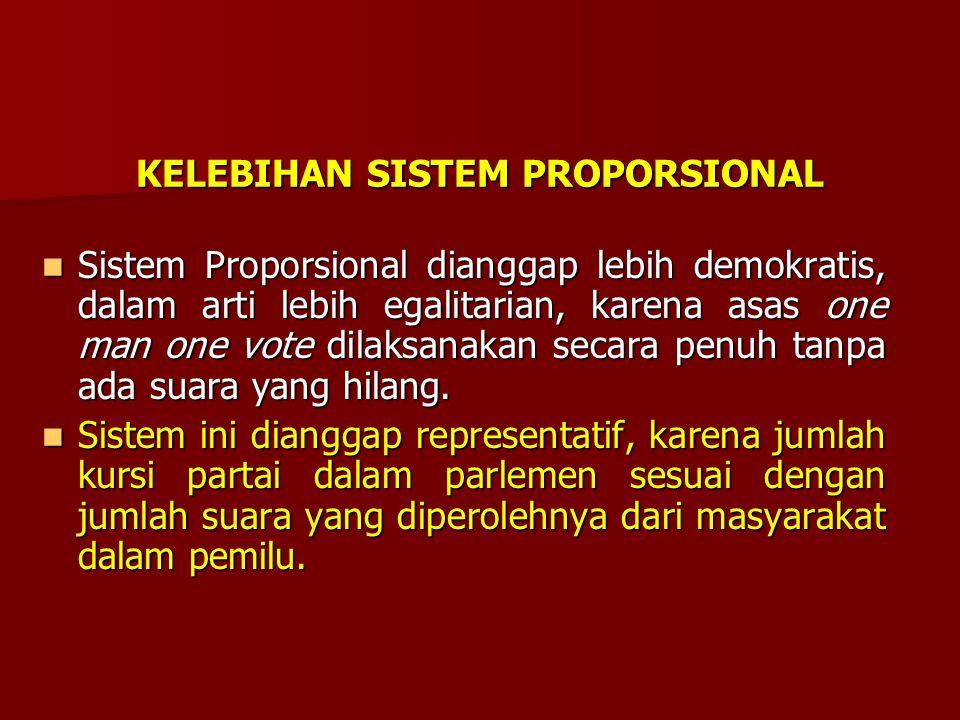 SISTEM PROPORSIONAL Sistem Proporsional adalah prosentasi kursi di DPR dibagi kepada tiap-tiap partai politik, sesuai dengan jumlah suara yang diperol