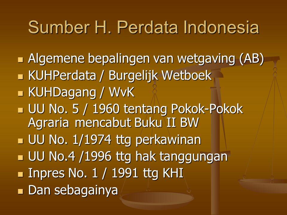 Sumber H. Perdata Indonesia Algemene bepalingen van wetgaving (AB) Algemene bepalingen van wetgaving (AB) KUHPerdata / Burgelijk Wetboek KUHPerdata /