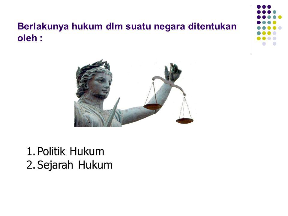 Berlakunya hukum dlm suatu negara ditentukan oleh : 1.Politik Hukum 2.Sejarah Hukum