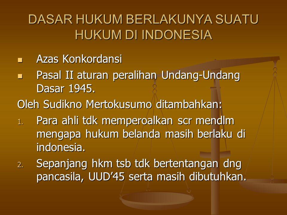 DASAR HUKUM BERLAKUNYA SUATU HUKUM DI INDONESIA Azas Konkordansi Azas Konkordansi Pasal II aturan peralihan Undang-Undang Dasar 1945. Pasal II aturan
