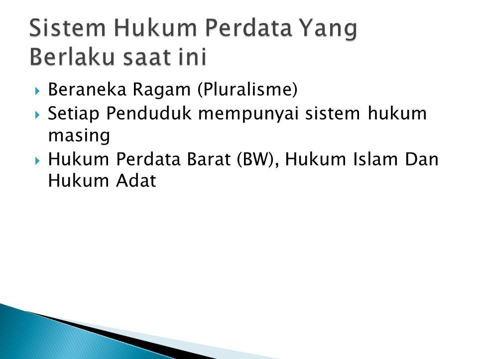  Beraneka Ragam (Pluralisme)  Setiap Penduduk mempunyai sistem hukum masing  Hukum Perdata Barat (BW), Hukum Islam Dan Hukum Adat