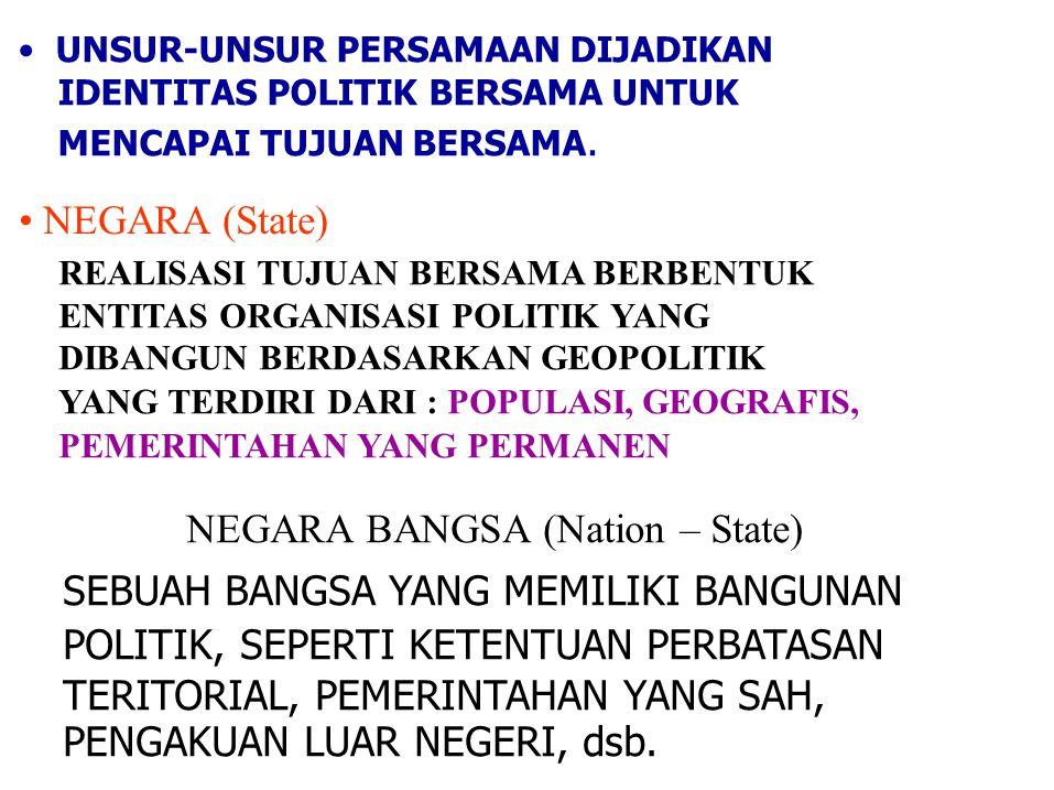 UNSUR-UNSUR PERSAMAAN DIJADIKAN IDENTITAS POLITIK BERSAMA UNTUK MENCAPAI TUJUAN BERSAMA. NEGARA (State) REALISASI TUJUAN BERSAMA BERBENTUK ENTITAS ORG