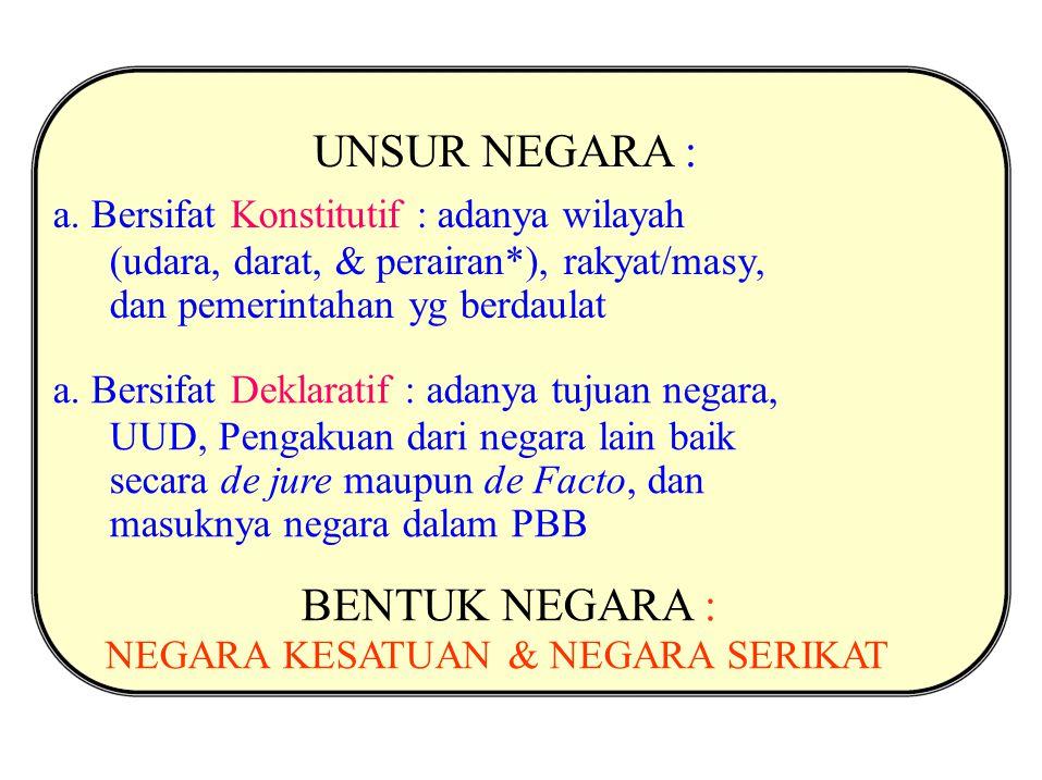 UNSUR NEGARA : a. Bersifat Konstitutif : adanya wilayah (udara, darat, & perairan*), rakyat/masy, dan pemerintahan yg berdaulat a. Bersifat Deklaratif
