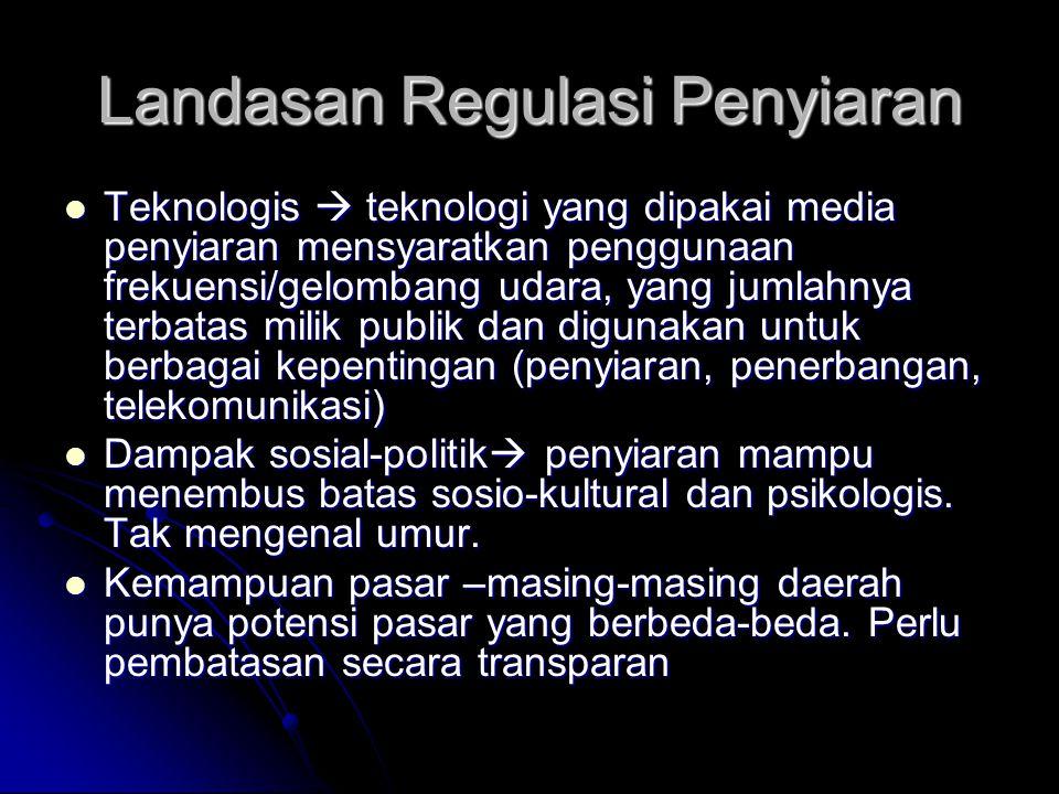 Landasan Regulasi Penyiaran Teknologis  teknologi yang dipakai media penyiaran mensyaratkan penggunaan frekuensi/gelombang udara, yang jumlahnya terbatas milik publik dan digunakan untuk berbagai kepentingan (penyiaran, penerbangan, telekomunikasi) Teknologis  teknologi yang dipakai media penyiaran mensyaratkan penggunaan frekuensi/gelombang udara, yang jumlahnya terbatas milik publik dan digunakan untuk berbagai kepentingan (penyiaran, penerbangan, telekomunikasi) Dampak sosial-politik  penyiaran mampu menembus batas sosio-kultural dan psikologis.